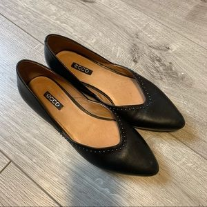 ECCO Akita 359113 Ballet Shoe Black Leather EU 38